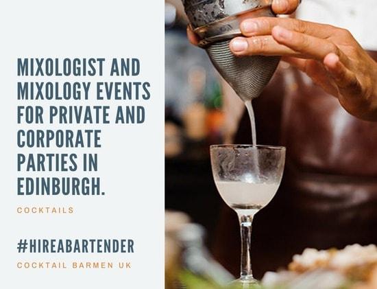 hire a cocktail bartender Edinburgh